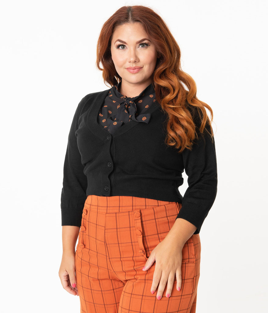 Plus Size Black Three-Quarter Sleeved Button Up Crop Cardigan