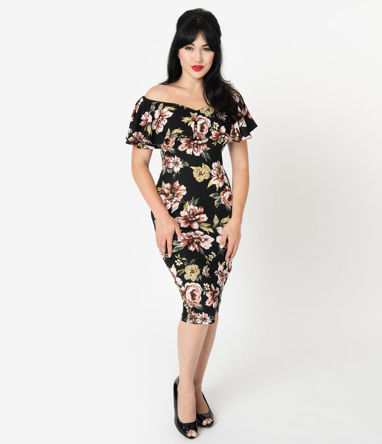 Unique Vintage Black & Pink Floral Knit Ruffle Sophia Wiggle Dress