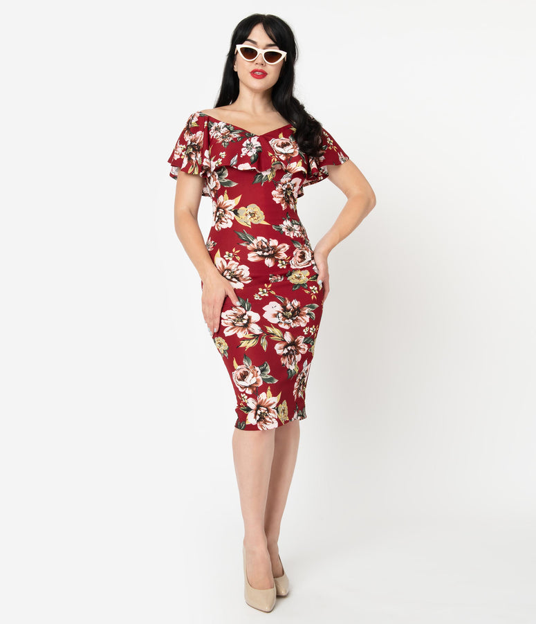 Unique Vintage Burgundy Floral Knit Ruffle Sophia Wiggle Dress