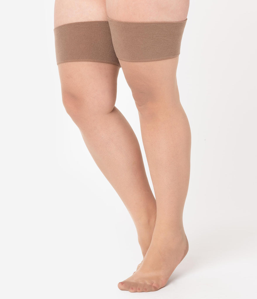 What Katie Did Plus Size Champagne Latte Glamour Seamed Stockings