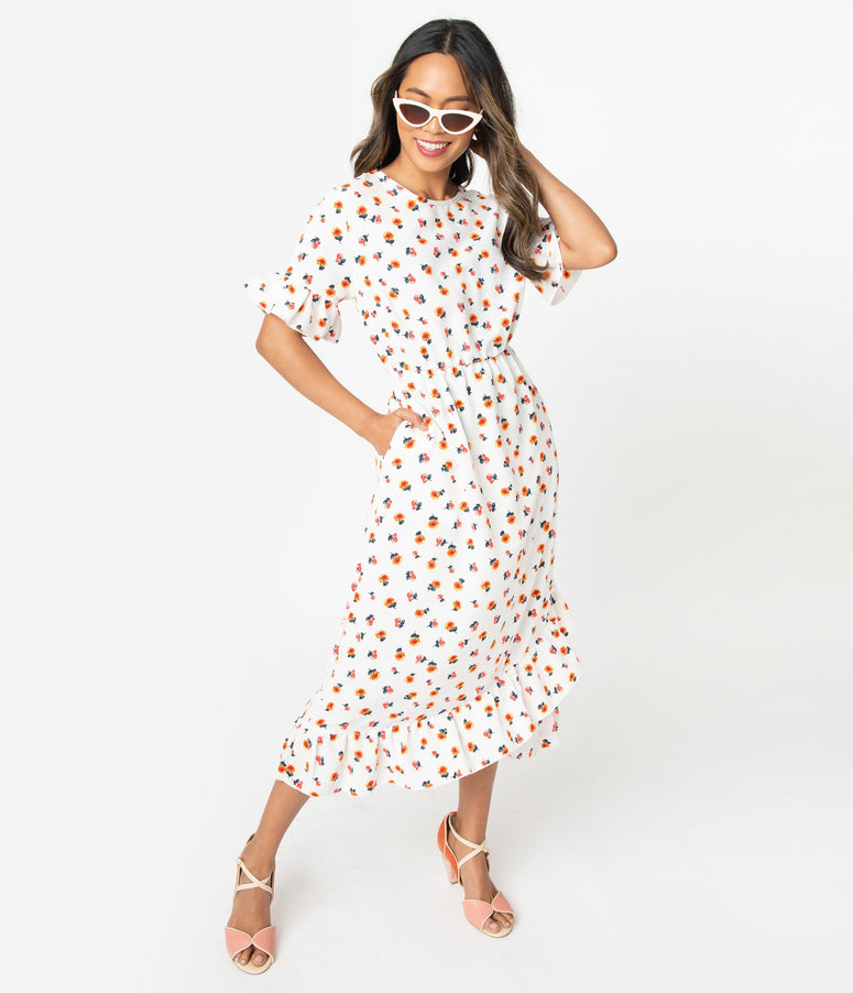 Retro Style Ivory & Yellow Floral Print Ruffle Midi Dress