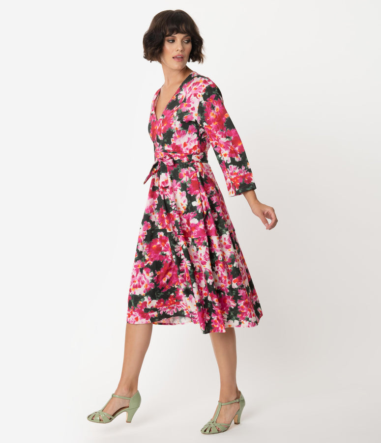 Retro Style Pink Floral Sleeved Swing Dress