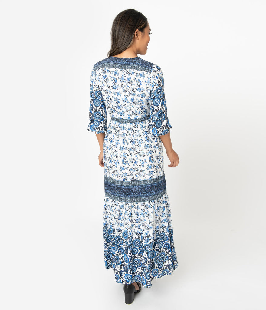 1970s Style White & Blue Floral Print Button Up Maxi Dress