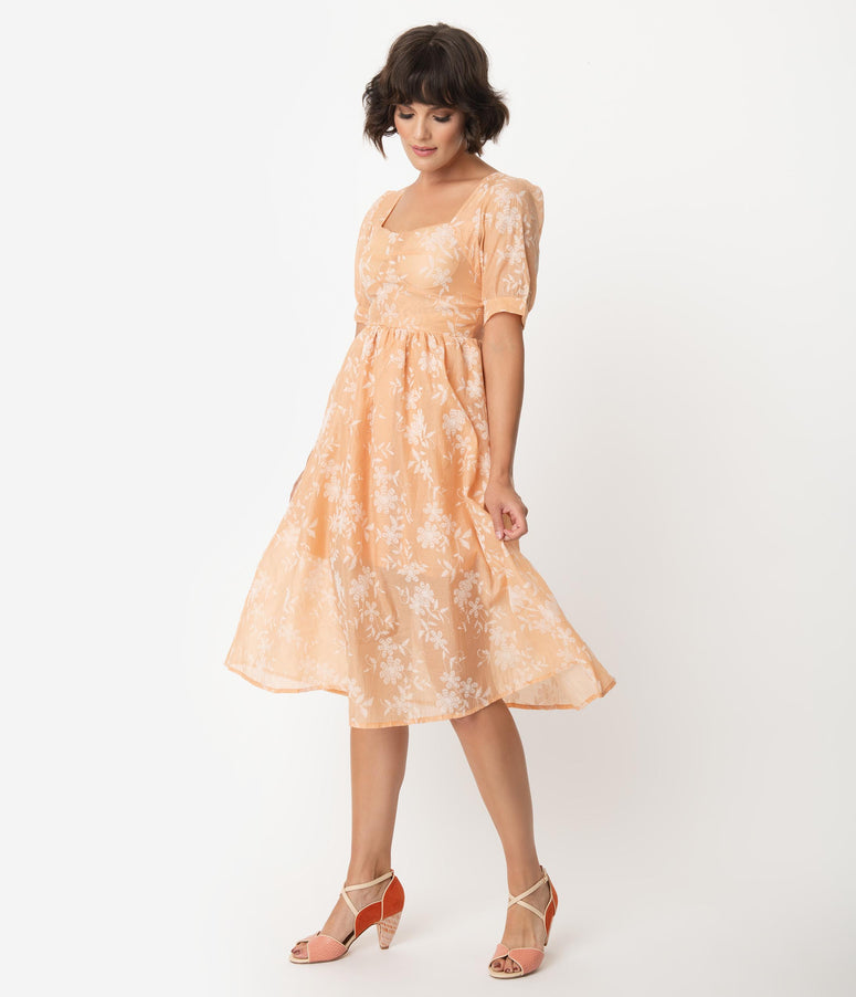 Peach Pink Embroidered Floral Swing Dress