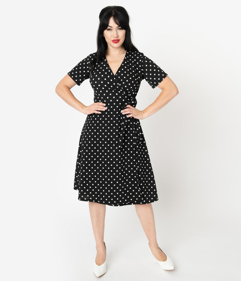 Retro Style Black & White Polka Dot Print Short Sleeve Wrap Dress