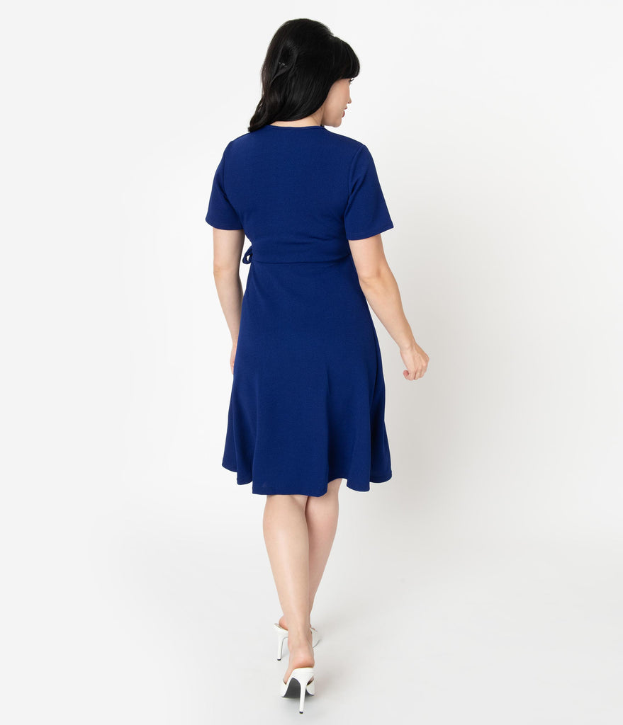 Retro Style Navy Blue Short Sleeve Wrap Dress