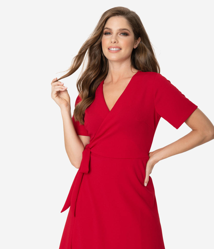 Retro Style Ruby Red Short Sleeve Wrap Dress