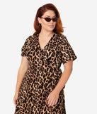 Plus Size Retro Style Leopard Print Short Sleeve Wrap Dress