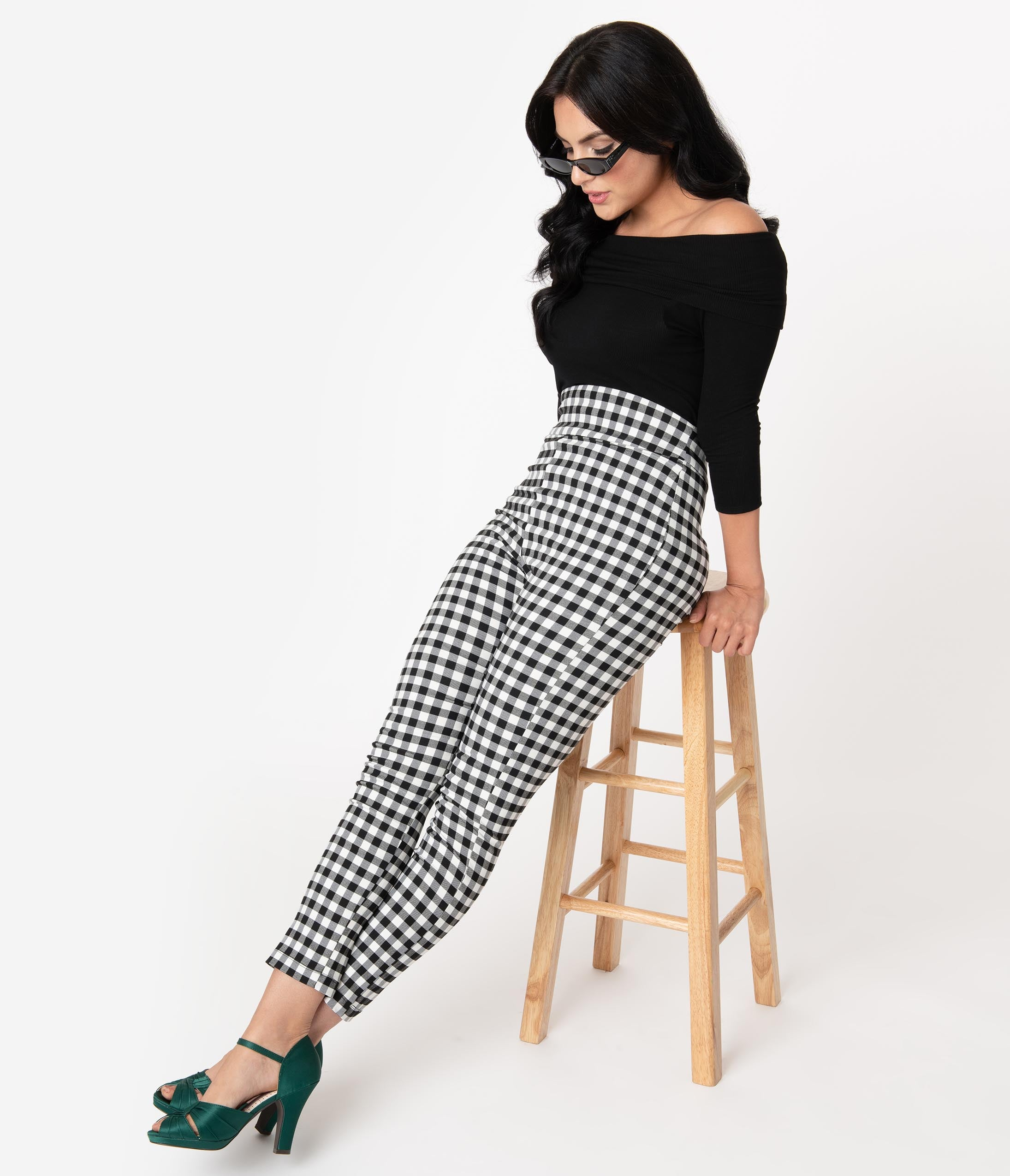 60s Mod Clothing Outfit Ideas Unique Vintage Black  White Gingham High Waist Rizzo Cigarette Pants $58.00 AT vintagedancer.com