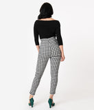 Unique Vintage Black & White Gingham High Waist Rizzo Cigarette Pants
