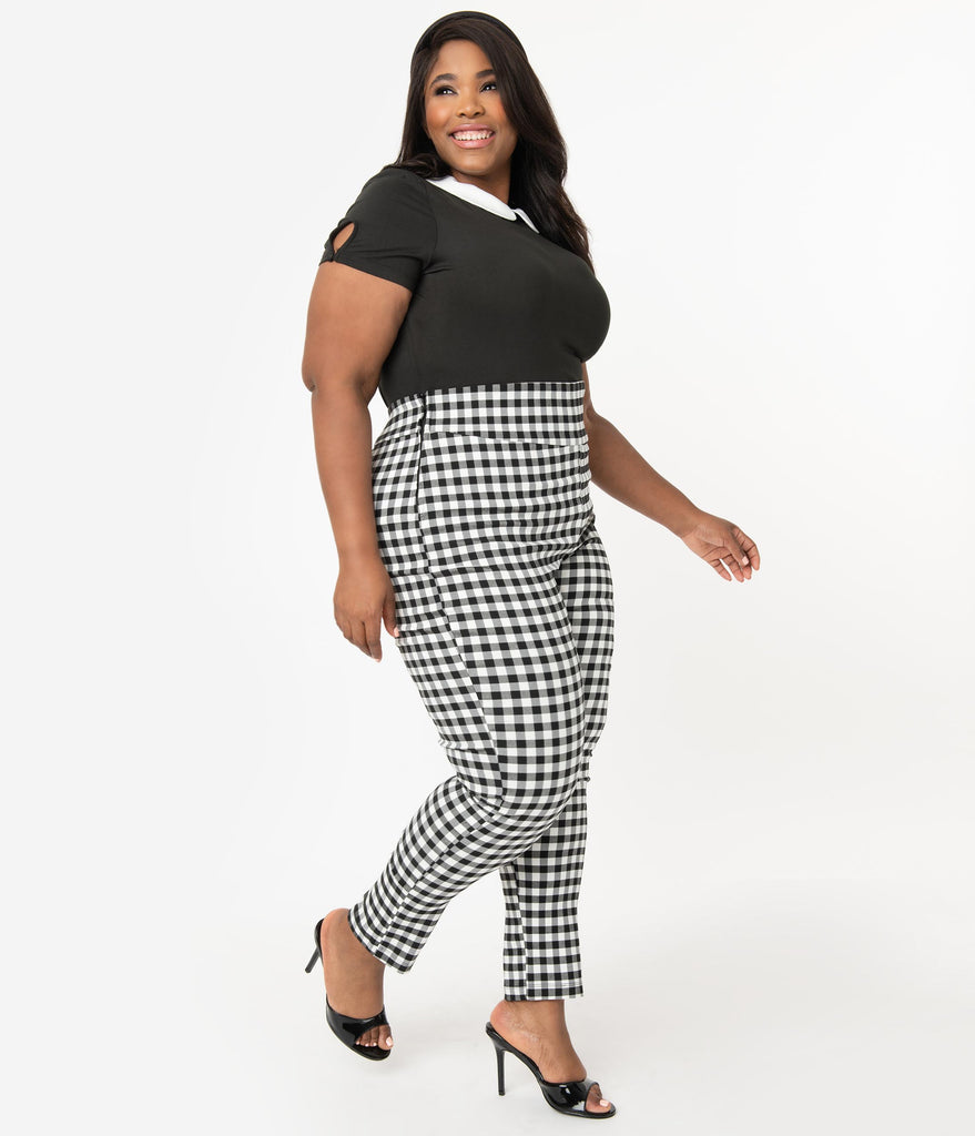 Unique Vintage Plus Size Black & White Gingham High Waist Rizzo Cigarette Pants