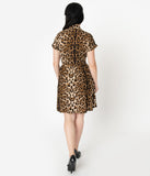 Unique Vintage Leopard Print Short Sleeve Fit & Flare Dress