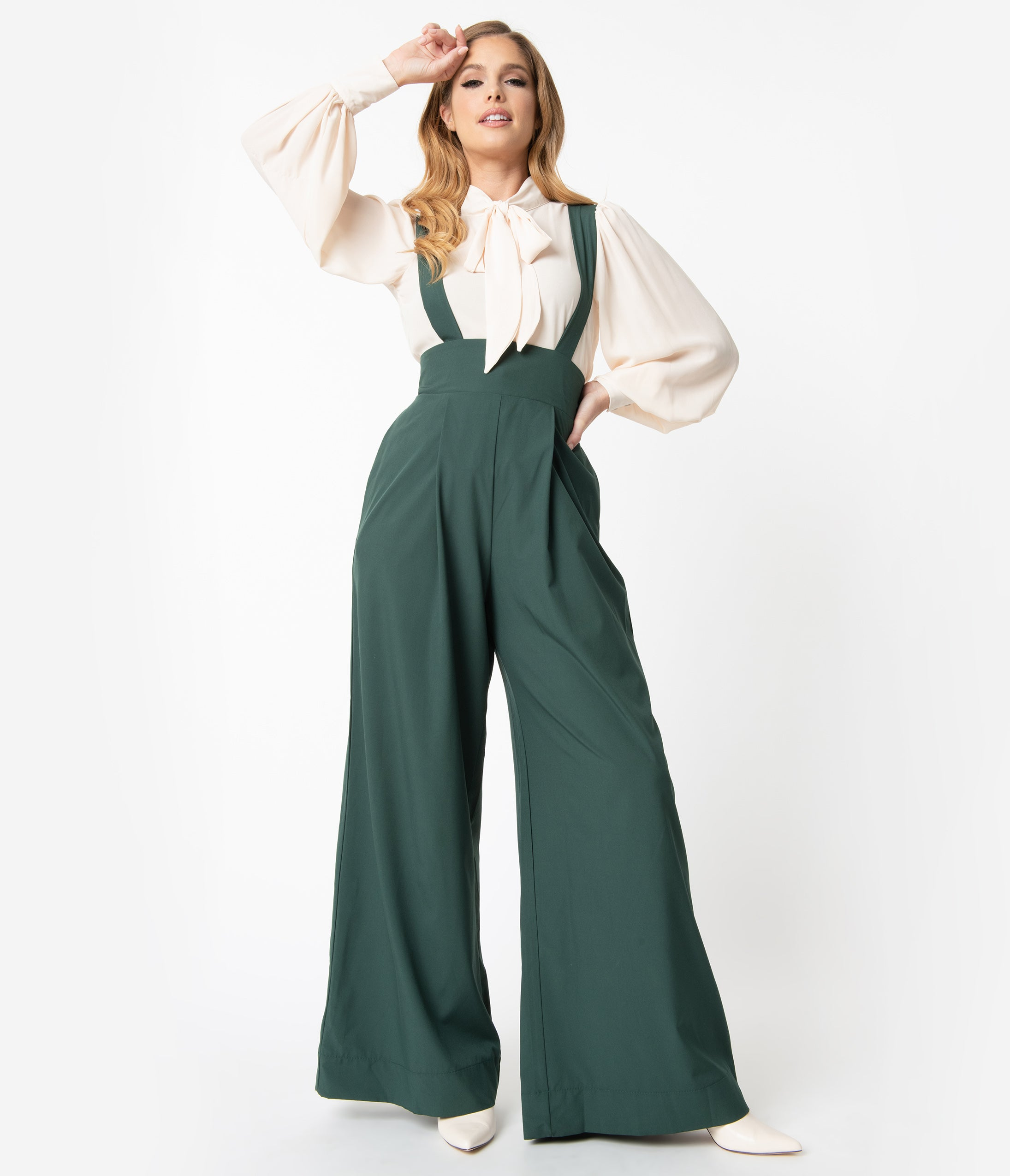 Vintage High Waisted Trousers, Sailor Pants, Jeans Unique Vintage Green High Waist Rochelle Suspender Pants $64.00 AT vintagedancer.com