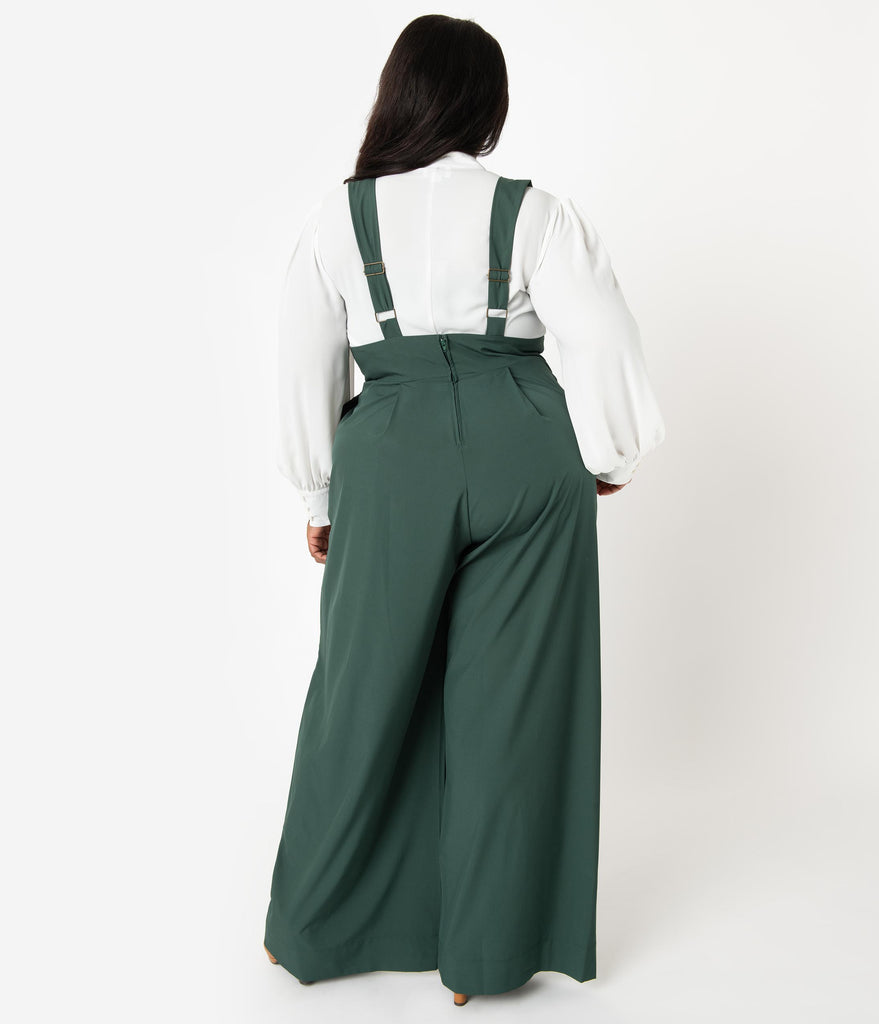 Unique Vintage Plus Size Green High Waist Rochelle Suspender Pants