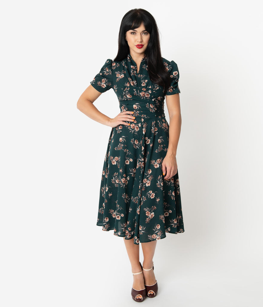 Unique Vintage 1940s Green Floral Print Camilla Midi Dress