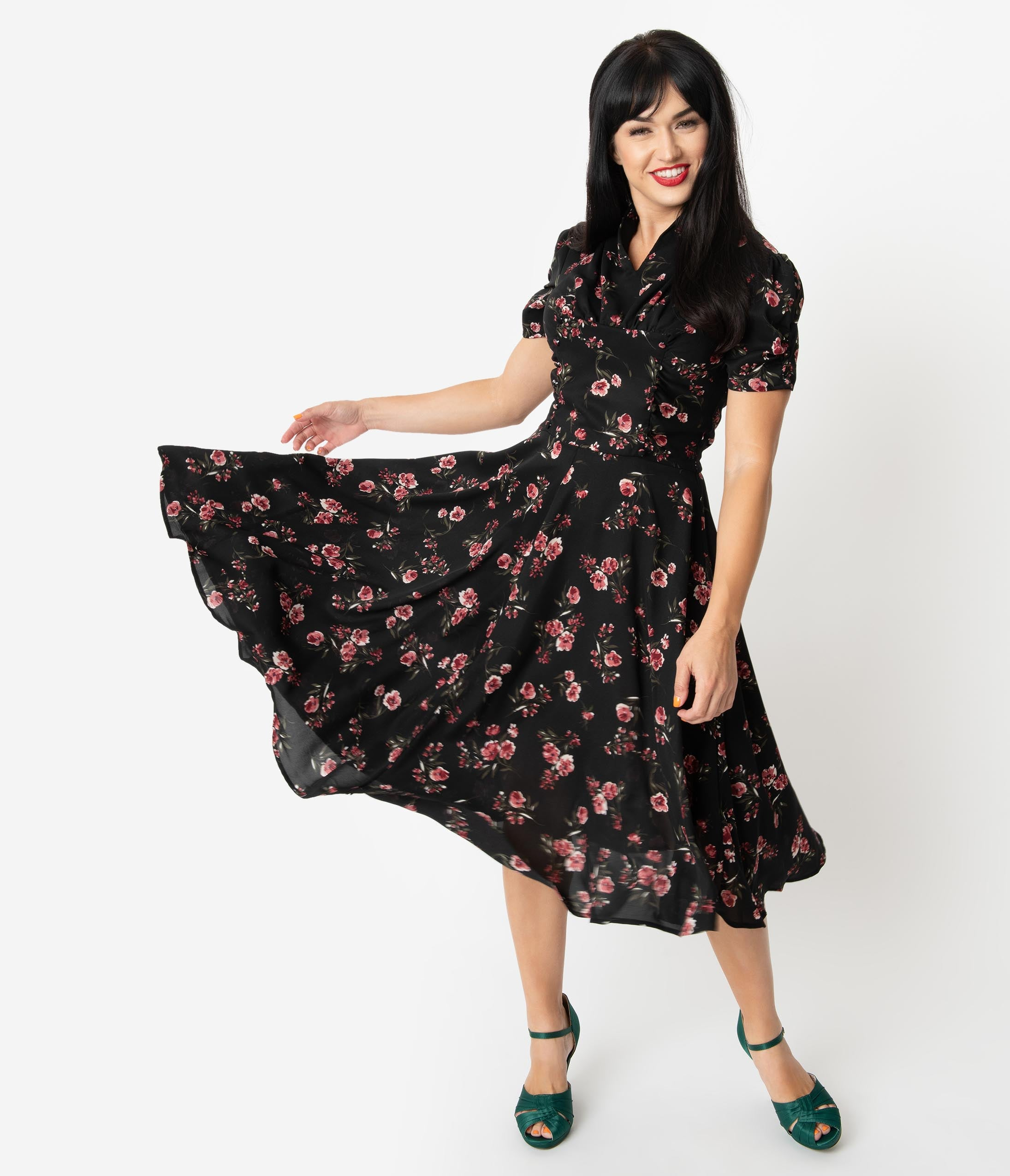 1940s Dresses | 40s Dress, Swing Dress Unique Vintage 1940S Black  Pink Floral Print Camilla Midi Dress $78.00 AT vintagedancer.com