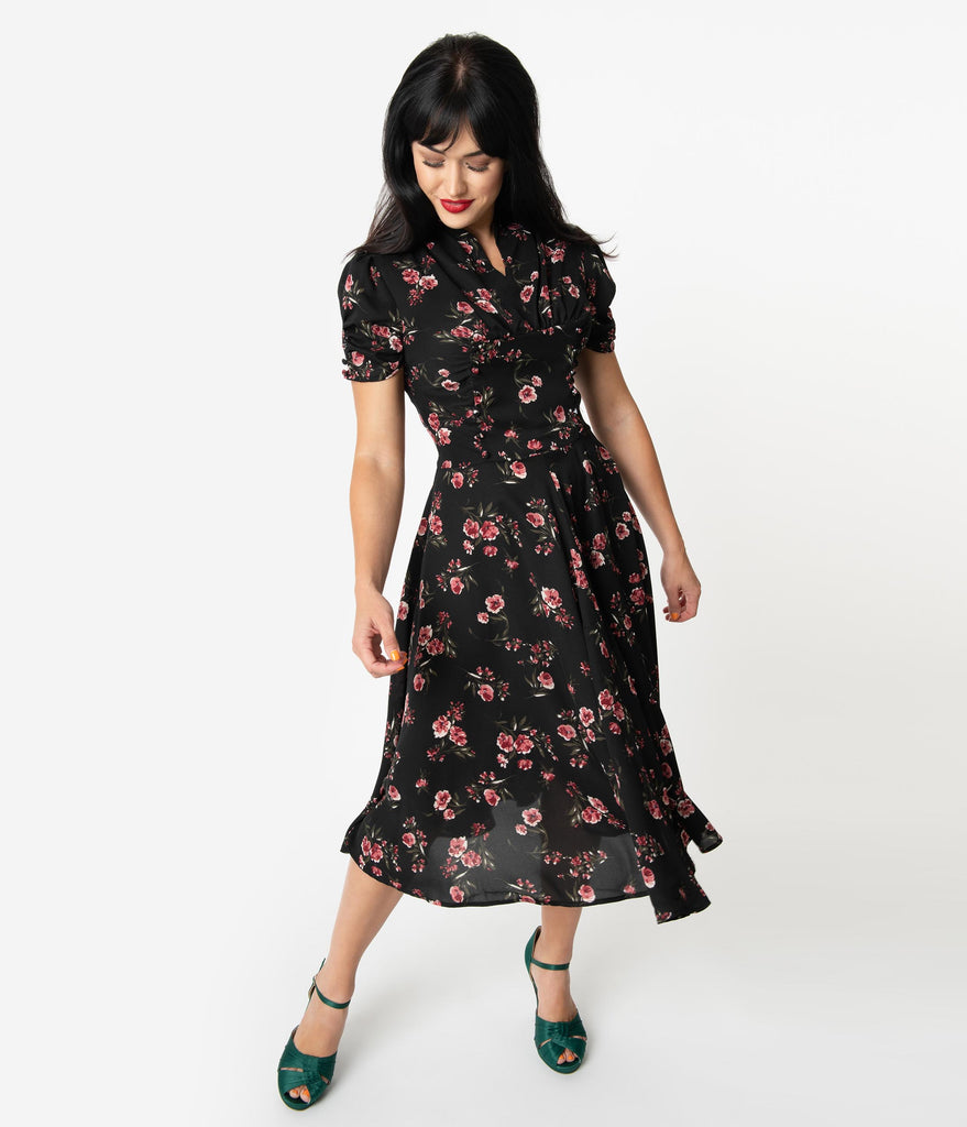 Unique Vintage 1940s Black & Pink Floral Print Camilla Midi Dress