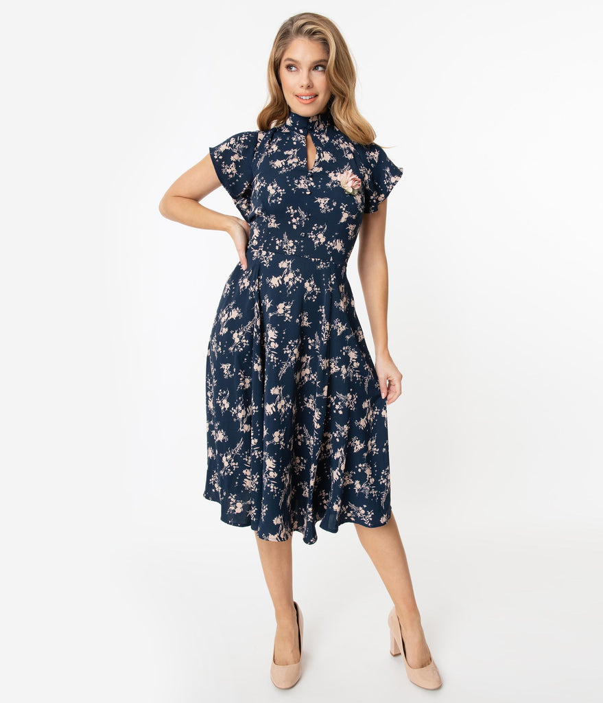 Unique Vintage 1950s Navy & Pink Floral Baltimore Swing Dress
