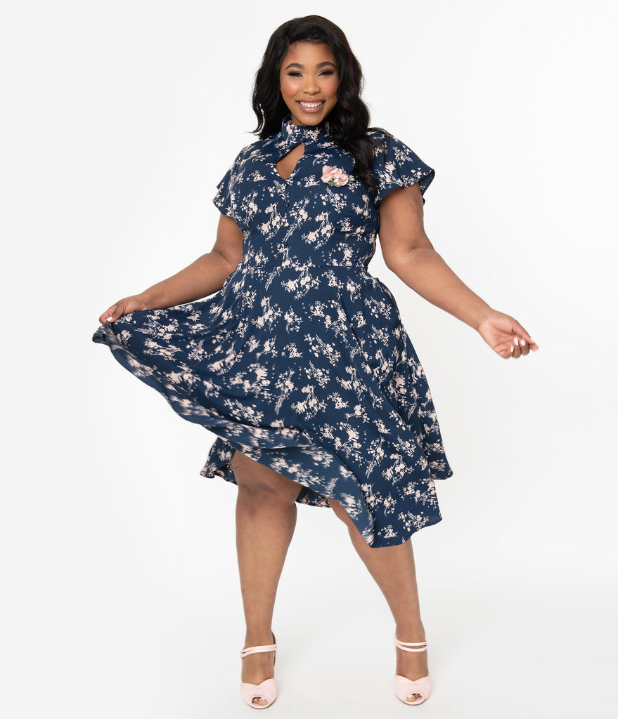 Unique Vintage Plus Size 1950s Navy & Pink Floral Baltimore Swing Dress
