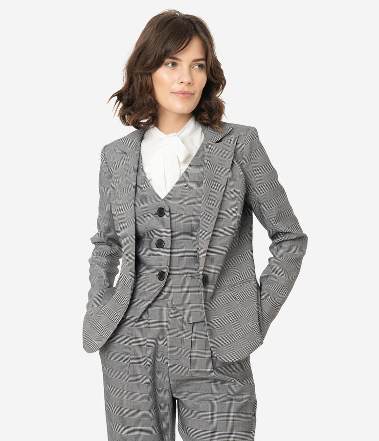 Unique Vintage Grey Glen Check Jagger Suit Jacket