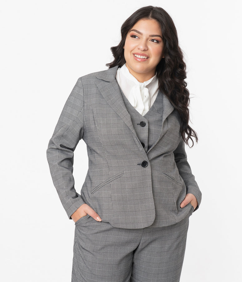 Unique Vintage Plus Size Grey Glen Check Jagger Suit Jacket