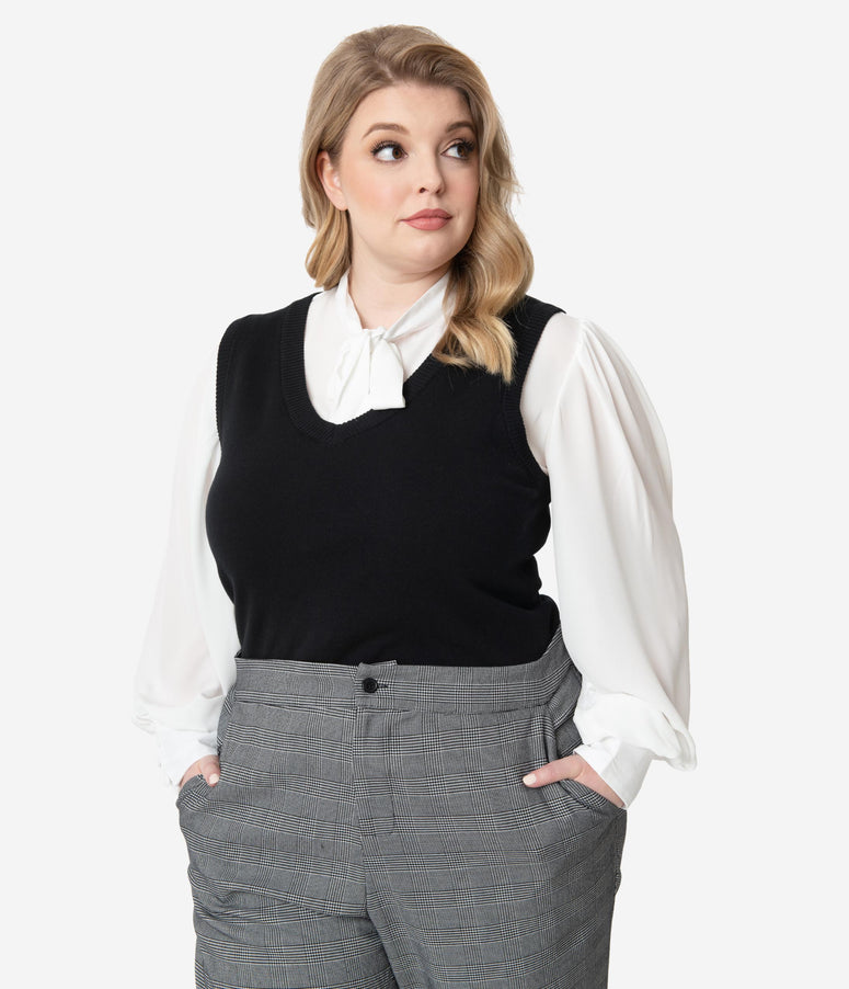 Unique Vintage Plus Size Black Brando Sweater Vest
