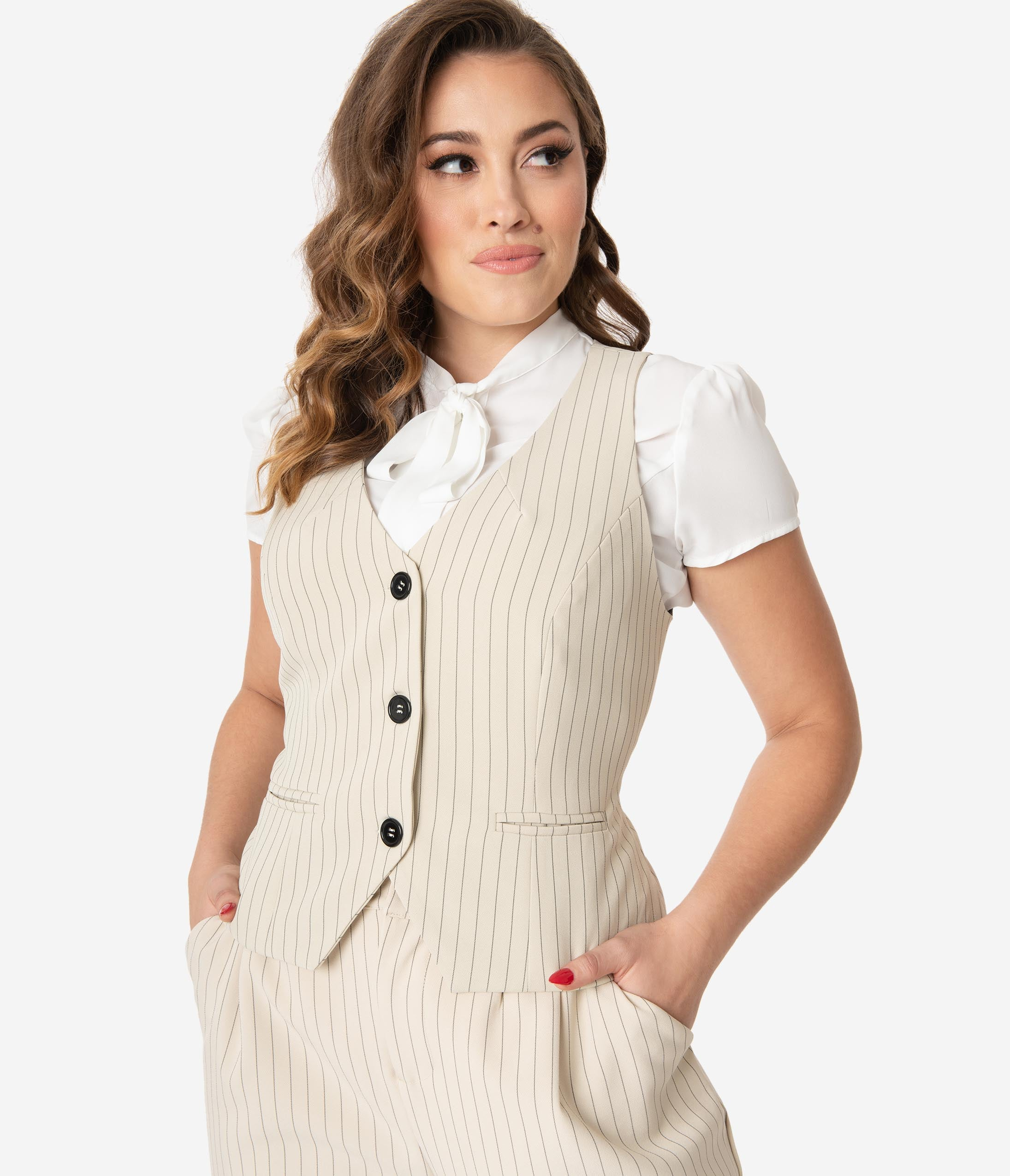 1920s Style Blouses, Shirts, Sweaters, Cardigans Unique Vintage Cream  Black Pinstripe Keaton Vest $58.00 AT vintagedancer.com