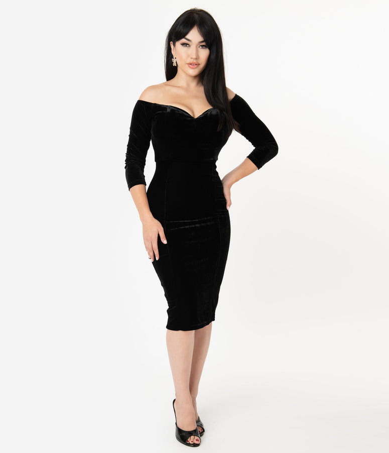Collectif Black Velvet Off The Shoulder Anjelica Pencil Dress