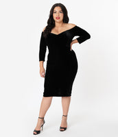 Plus Size V-neck 3/4 Sleeves Off the Shoulder Pencil-Skirt Princess Seams Waistline Velvet Fitted Back Zipper Back Vent Dress