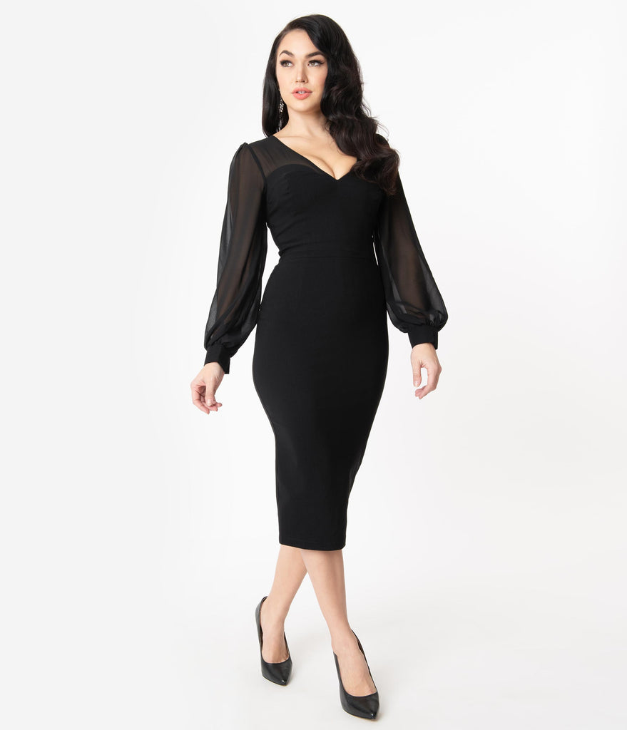 Collectif 1960s Black Mesh Arionna Wiggle Dress