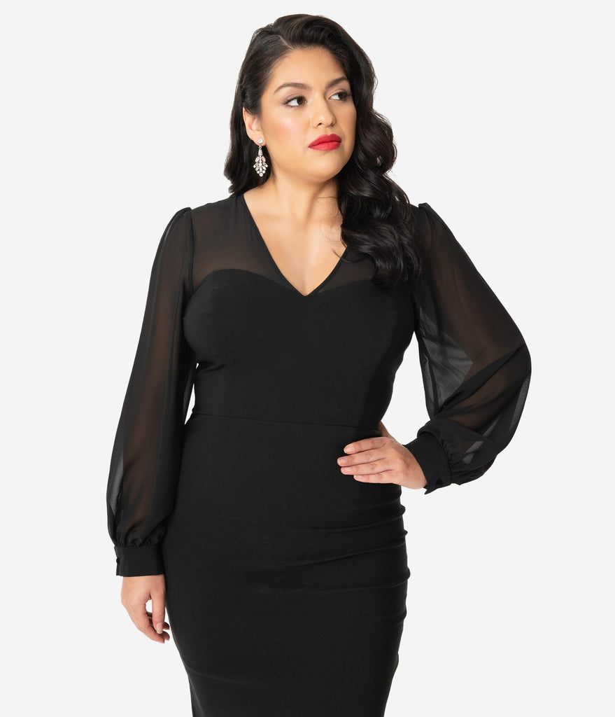 Collectif Plus Size 1960s Black Mesh Arionna Wiggle Dress