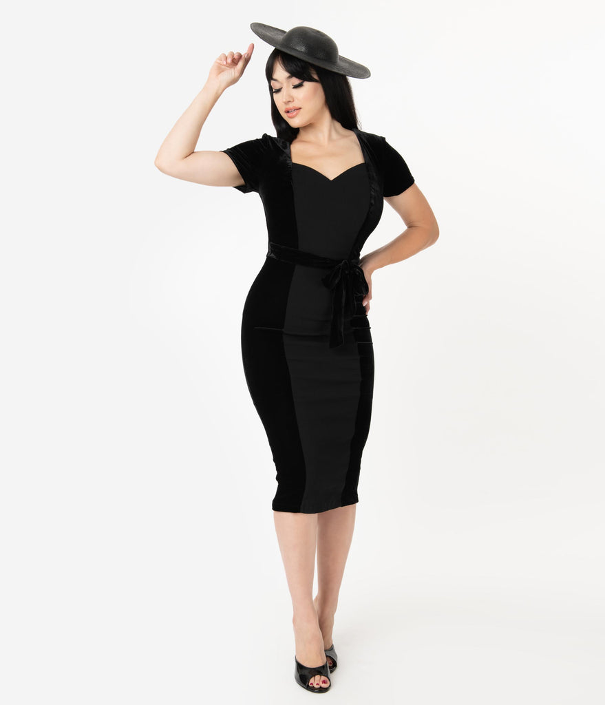 Collectif Black Velvet Sweetheart Gracie Pencil Dress