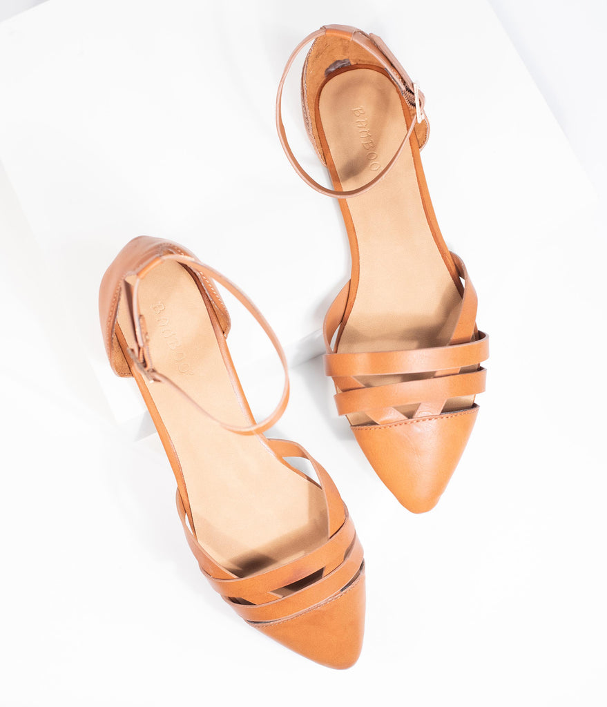 Brown Leatherette Pointed Toe Sandal Flats
