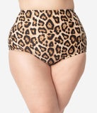 Unique Vintage Plus Size Leopard Print High Waist Louise Swim Bottoms