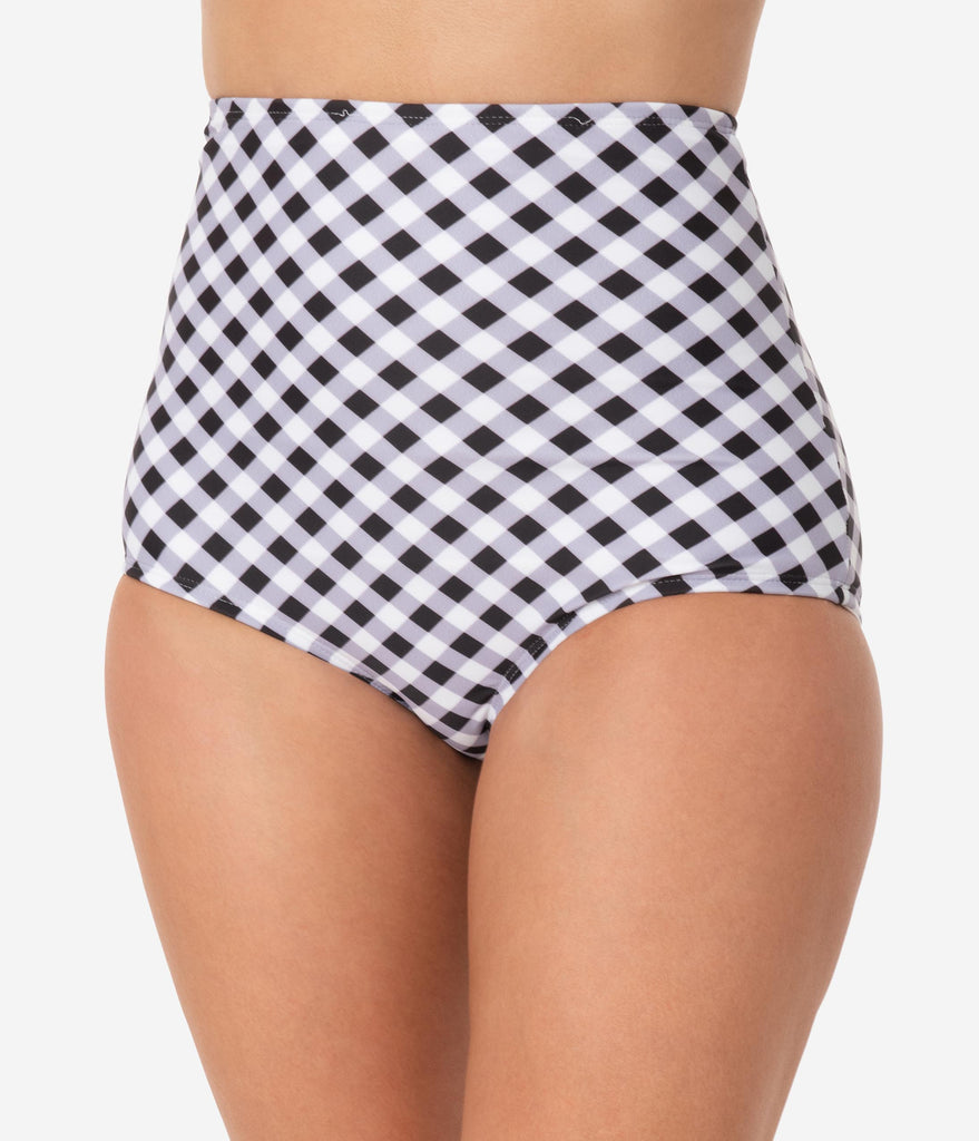 Unique Vintage Black & White Gingham High Waist Louise Swim Bottoms