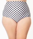 Unique Vintage Plus Size Black & White Gingham High Waist Louise Swim Bottoms