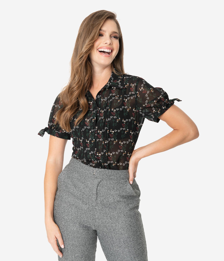 Unique Vintage Black & Multicolor Floral Colvin Blouse