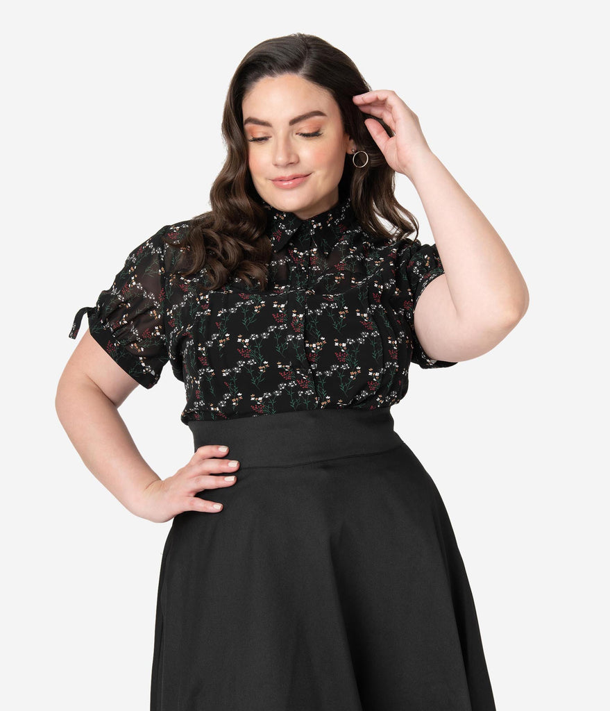 Unique Vintage Plus Size Black & Multicolor Floral Colvin Blouse