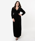 Unique Vintage Plus Size Black Velvet Sleeved Warner Faux Wrap Dress