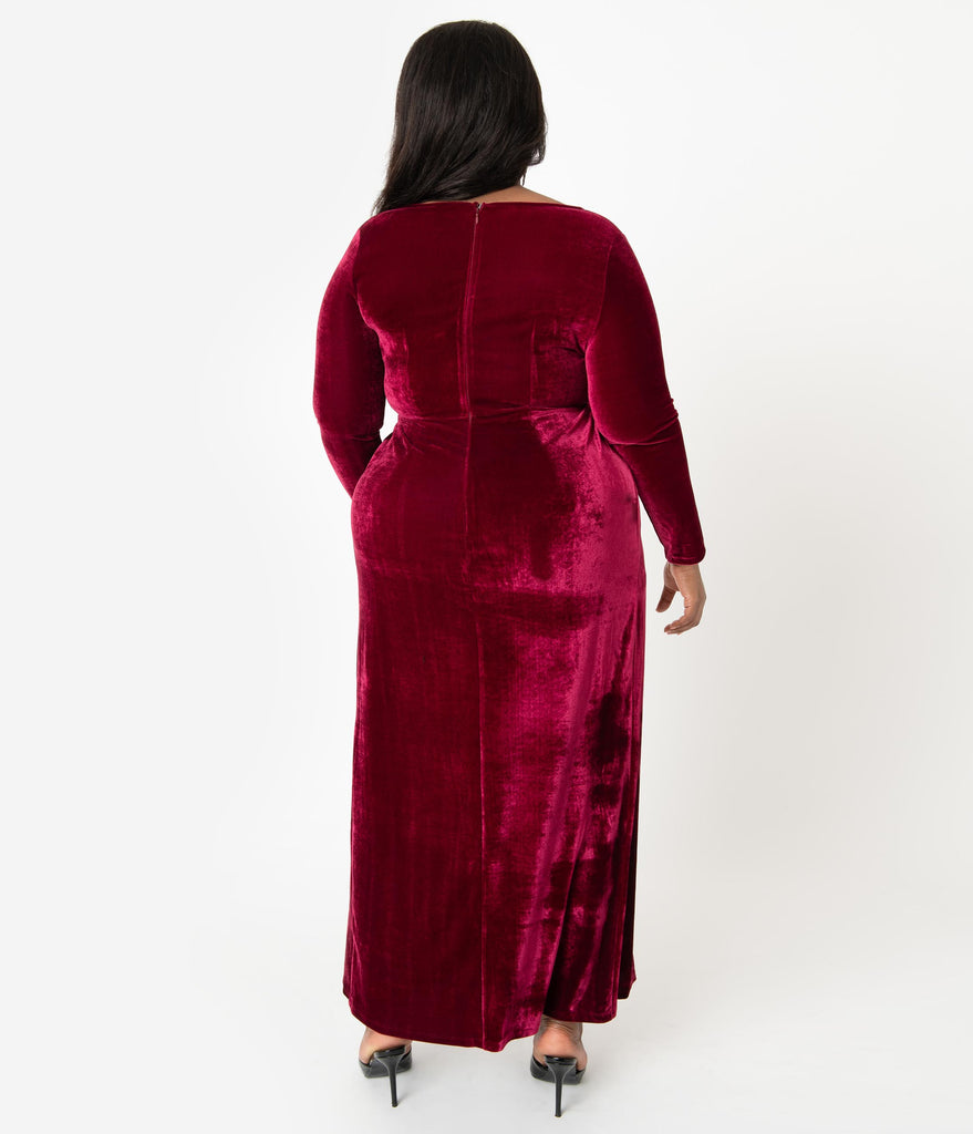 Unique Vintage Plus Size Merlot Red Velvet Sleeved Warner Faux Wrap Dress