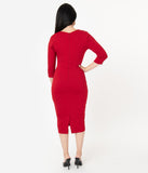 Unique Vintage 1960s Cranberry Red Long Sleeve Mod Wiggle Dress