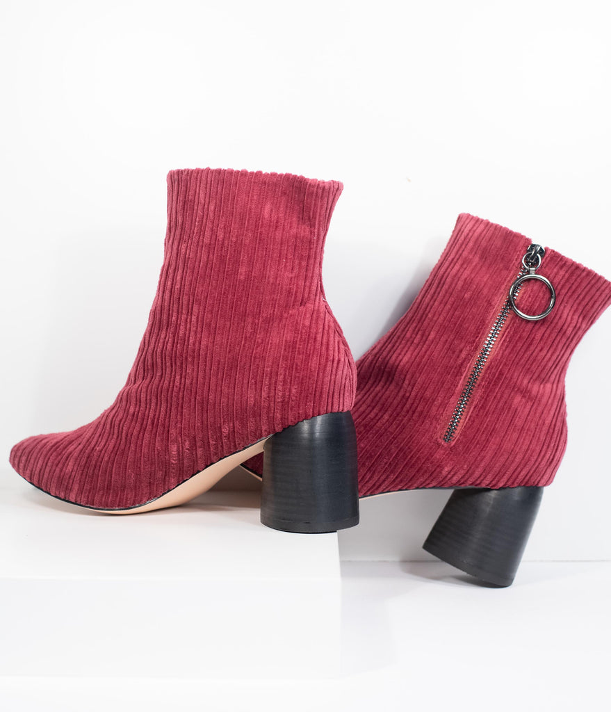 1970s Style Wine Red Velvet Corduroy Stacked Heel Booties