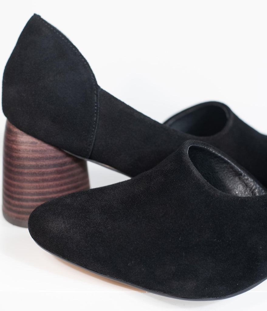 Retro Style Black Suede Open Side Stacked Heels