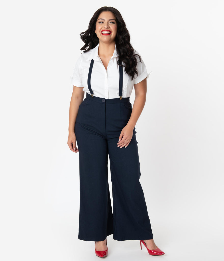 Collectif Plus Size 1940s Style Navy High Waist Glinda Suspender Pants