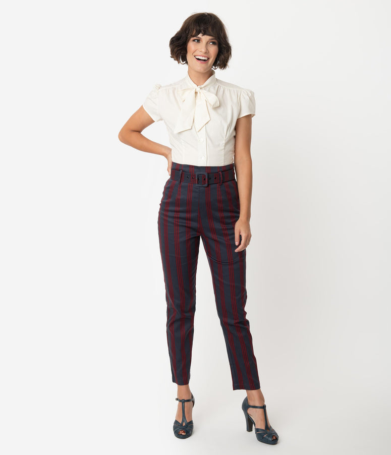 Collectif Grey & Burgundy Triplet Stripe Thea High Waist Pants
