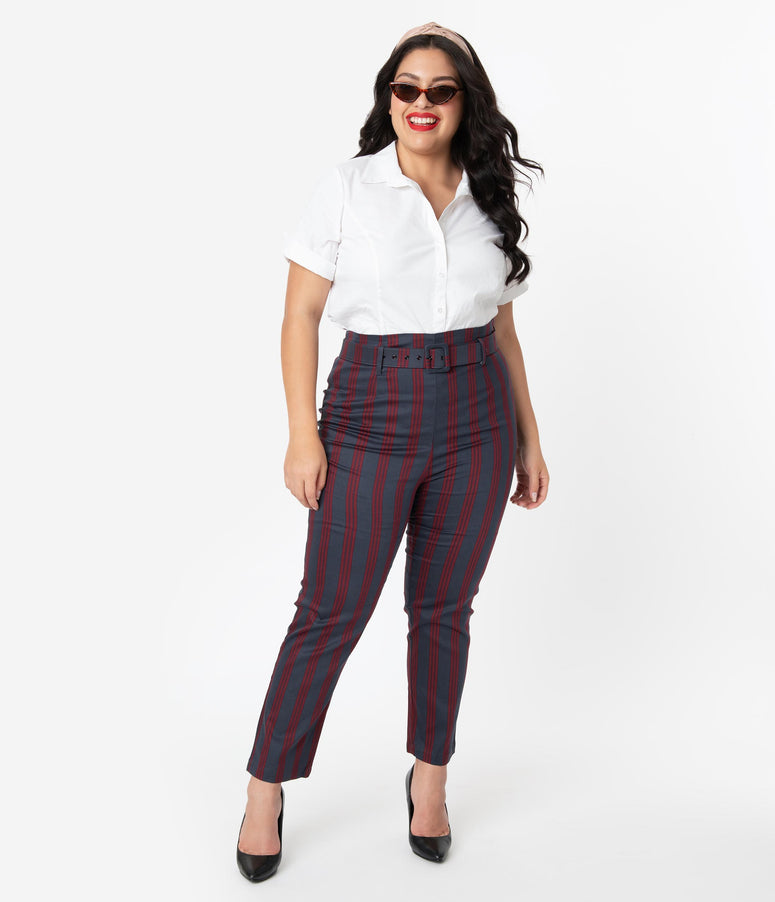 Collectif Plus Size Grey & Burgundy Triplet Stripe Thea High Waist Pants