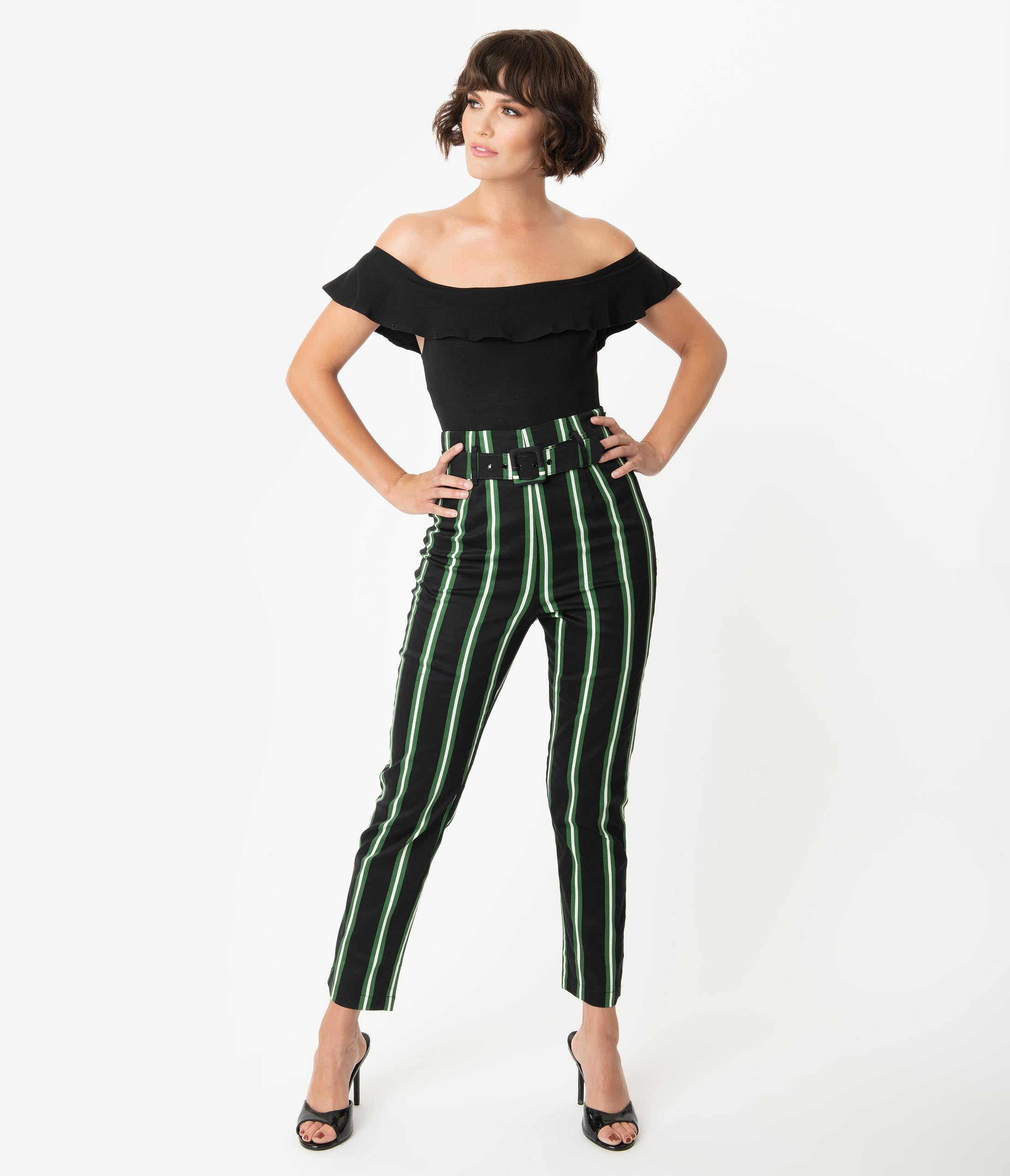 60s – 70s Pants, Jeans, Hippie, Bell Bottoms, Jumpsuits Collectif Black  Green Witch Stripe Thea High Waist Pants $58.00 AT vintagedancer.com