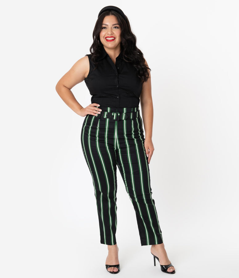 Collectif Plus Size Black & Green Witch Stripe Thea High Waist Pants