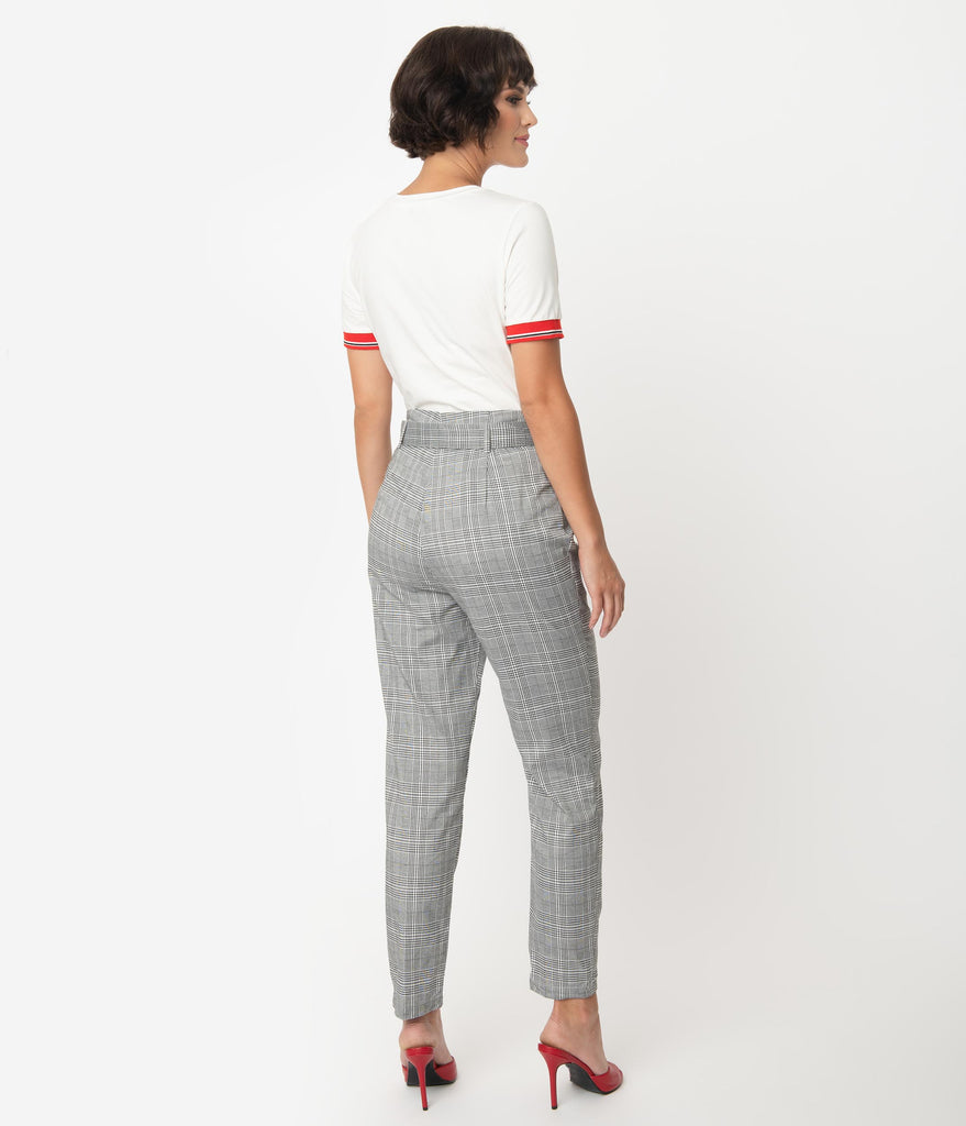 Collectif 1960s Style Black & White Glen Check Thea High Waist Pants