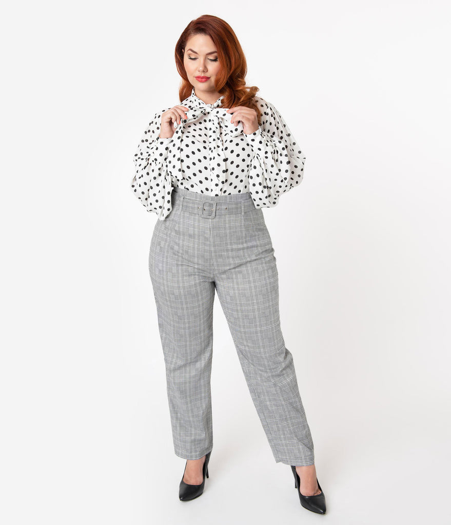 Collectif Plus Size 1960s Style Black & White Glen Check Thea High Waist Pants